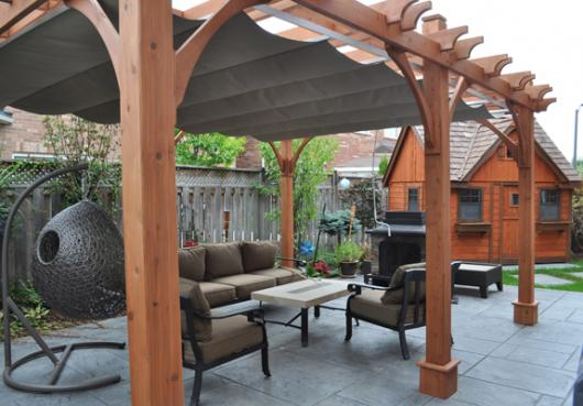 12 x 16 ft. Cedar Pergola with retractable canopy
