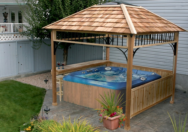 Hot tub gazebo enclosure 9x9 naramata spa shelter for Diy hot tub gazebo