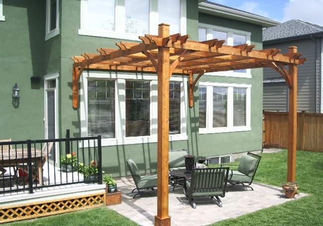 Pergola Attached To House Cedar Wood 12x12 Outdoor Living Today