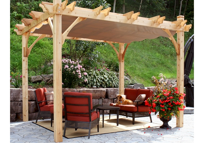 Pergola Shade Cover | 10x10 Breeze Pergola with Retractable Canopy -  Outdoor Living Today - Pergola Shade Cover 10x10 Breeze Pergola With Retractable Canopy