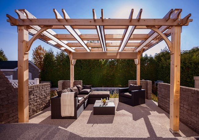 Covered Pergola - with Retractable Canopy 12 x 12