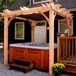 Pergola Spa Shelter with Retractable Canopy | 8x8