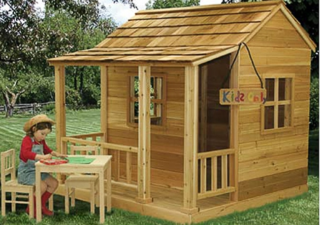 childrens playhouse 6 39 x6 39 little cedar playhouse outdoor living today. Black Bedroom Furniture Sets. Home Design Ideas