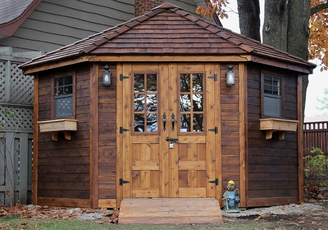 5 sided shed 9x9 penthouse garden corner shed for Garden shed 9 x 5
