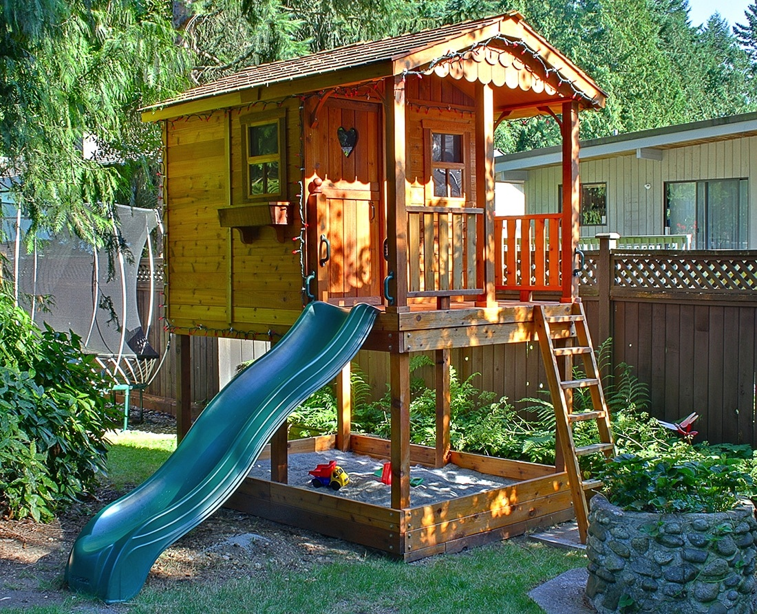 playhouse with slide and sandbox 6 39 x9 39 outdoor living. Black Bedroom Furniture Sets. Home Design Ideas