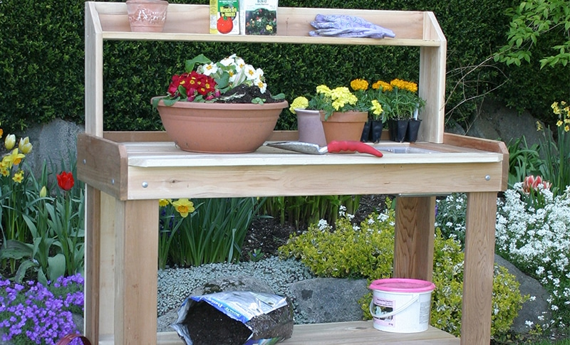 Potting bench features